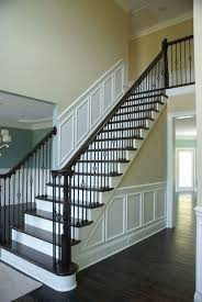 Wainscoting On Stairs Ideas Traditional Staircase With Loft Floating Staircase High Ceiling
