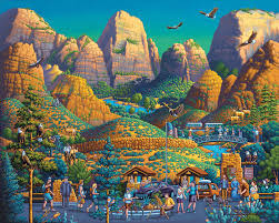 Zion National Park Thanksgiving Zion National Park By Folk Artist Eric Dowdle National Parks