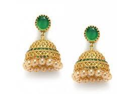 kerala style jhumka earrings green studded golden jhumka earring kerala news