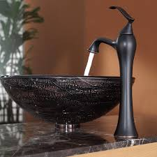 Oil Rubbed Bronze Faucet Kitchen Kraus C Gv 580 12mm 15000orb Copper Illusion Glass Vessel Sink And