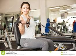 Bench Bicep Curls Beautiful Doing Bicep Curls At The Gym Stock Photo Image