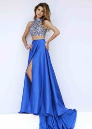 image of long satin two piece prom dress in sapphire blue style