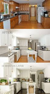 best ideas about narrow kitchen island pinterest small how painted our oak cabinets and hid the grain kitchen