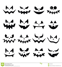 free halloween icon scary halloween pumpkin faces icons set stock illustration image
