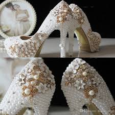 pearl wedding shoes 2017 glitter cheap wedding shoes pearls crystals pumps shoes