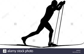 male athlete skier classic style black silhouette stock photo