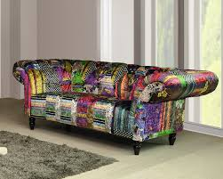 Chesterfield Patchwork Sofa Fabric Patchwork Chesterfield 2 Seater Avici Scroll Sofa