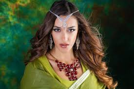 pretty woman earrings pretty woman in green indian dress stock photo image of