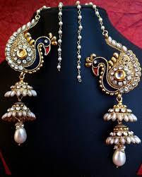 bridal jhumka earrings buy peacock motif kashmiri jhumka adiva earring india women bridal