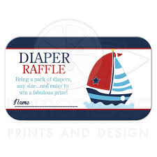anchor and sailboat baby shower diaper raffle ticket cards