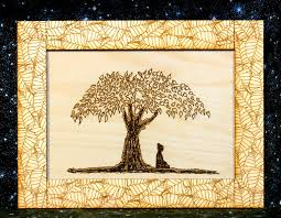 buddha sitting the bodhi tree wood print and frame laser