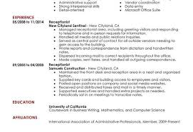 receptionist resume sample receptionist administration and office