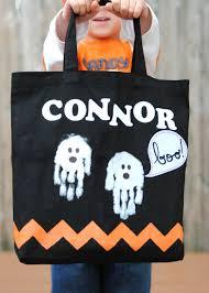 halloween bags halloween trick or treat bag with handprint ghosts