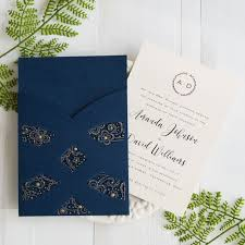 fancy wedding invitations navy blue laser cut pocket wedding invites swws027