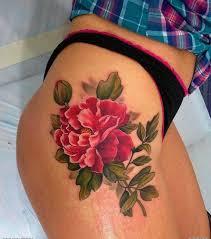 realistic red peony flower tattoo on thigh tattooimages biz