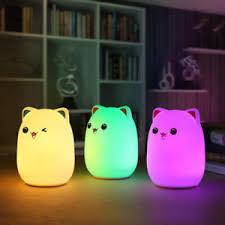 usb cat night light usb silicone cat led children animal night light soft cartoon baby