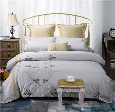 Embroidered Bedding Sets Egypt Cotton 4 6pcs Bedding Set Grey Embroidered Bedding European