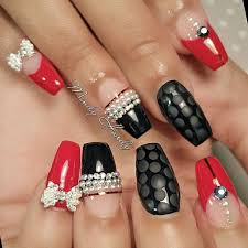 black and red coffin nails with design nail it pinterest