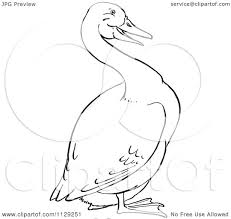 cartoon clipart of an outlined goose black and white vector