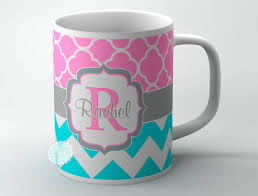 mug design design your own coffee mug turquoise blue chevron and pink