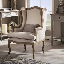 Overstock Armchair Baxton Studio Oreille French Provincial Style White Wash