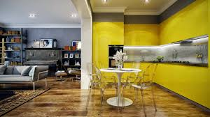 yellow open kitchen paint idea with acrylic dining chairs and