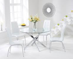 denver 110cm glass dining table with grey calgary chairs the