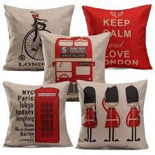 vintage british style linen home decor sofa throw pillow case