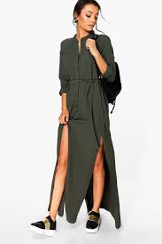 tall sadia woven split side maxi shirt dress boohoo