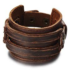 leather bracelet with buckle images Metallic brown genuine leather wristband mens wide jpg