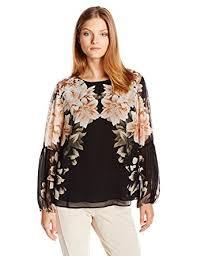 calvin klein blouses calvin klein s printed peasant blouse at amazon s