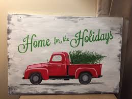 Christmas Vehicle Decorations Red Truck Christmas Tree Home For The Holidays Painted Wood