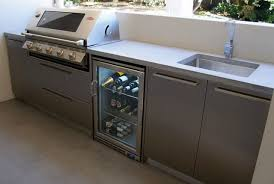 Stainless Steel Bench Top Outdoor Kitchen With A Polished Concrete Benchtop U0026 Stainless