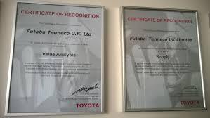 tmc toyota futaba tenneco wins prestigious awards burnley