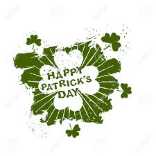 happy patricks day emblem grunge style four leaf clover clover