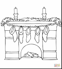 great stockings christmas fireplace coloring page with stocking