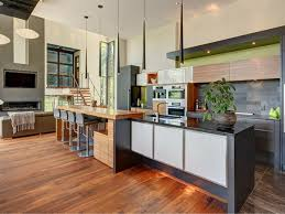 kitchen modern kitchen with green accent wall idea plus hardwood