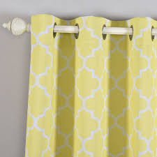 White And Yellow Curtains Blackout Curtains Lattice Print 52 X84 White Yellow Pack Of 2
