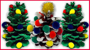 diy how to make decorative pinecone christmas trees for kids youtube