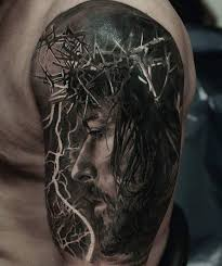 59 jesus designer shoulder tattoos