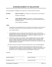 acknowledgment of obligations contract template u0026 sample form