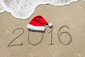 happy new year 2016 with hat on with wave