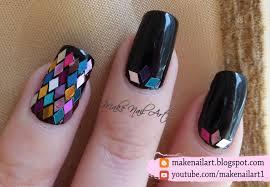 make nail art diamond shape glitter placements nail art design