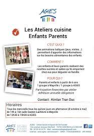 cours cuisine parent enfant animations parents enfants ados agies