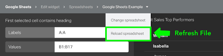 Spreadsheet Widget Create Visualizations From Your Spreadsheets Geckoboard Help Center