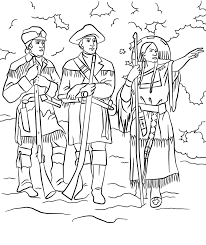 lewis and clark and sacagawea frontier life coloring page