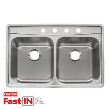 Drop In Stainless Steel Sink Shop Franke Fast In 33 5 In X 22 5 In Double Basin Stainless Steel