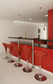 furniture home bar design with modern red bar stools and glossy
