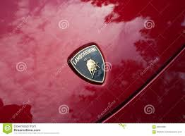 lamborghini symbol on car lamborghini logo car on display editorial photo image 56878966