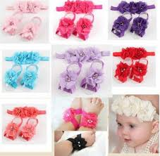 flower hair band 3 pcs sets children chiffon flower hair band foot flower headband